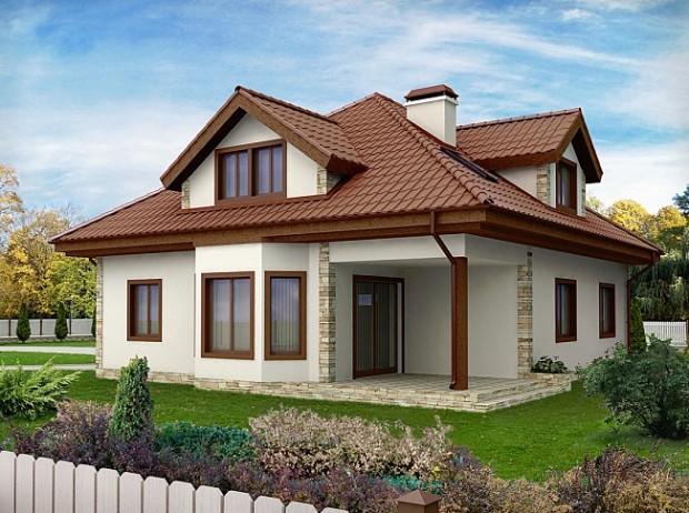 Projekat kuće sa potkrovljem i garažom – Z58  KucaSnova.com