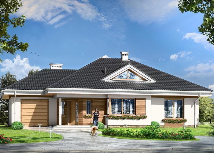 Projekat moderne prizemne kuće s garažom u obliku slova L ...