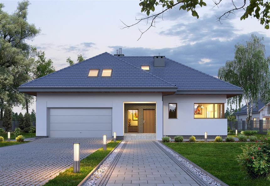 Projekat moderne kuće s potkrovljem i garažom – E128 | KucaSnova ...