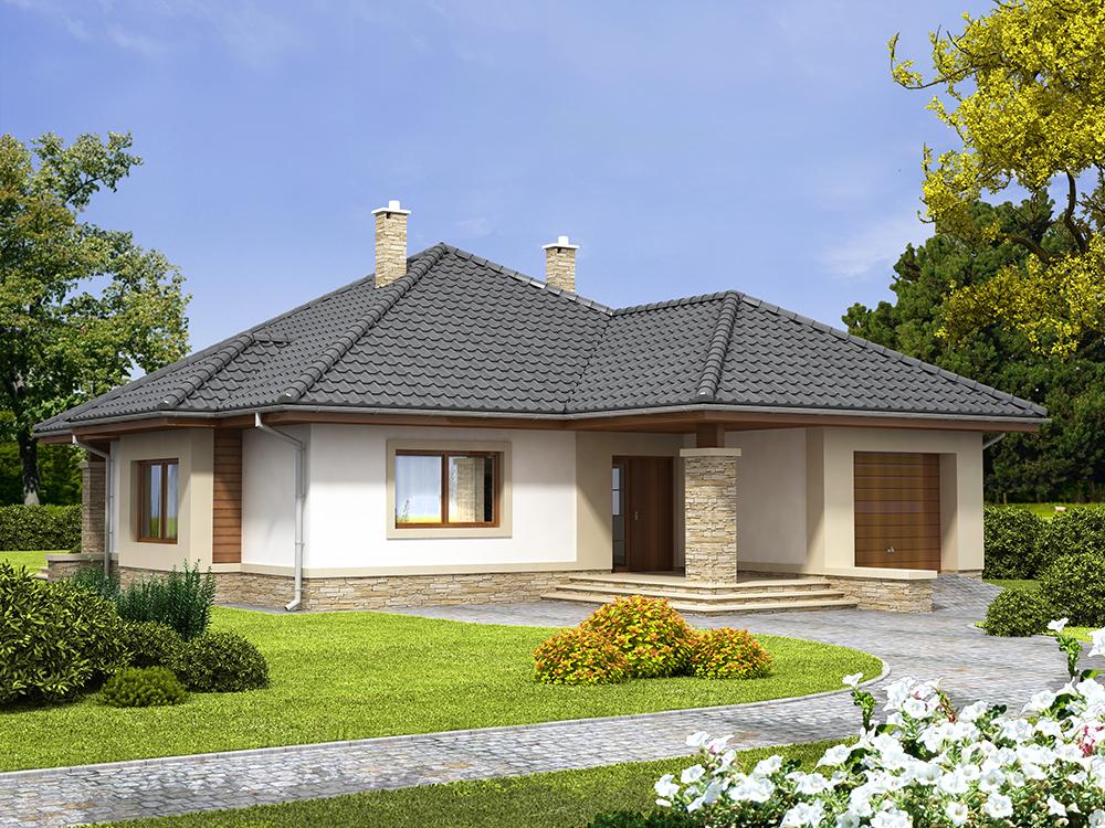 Projekat moderne prizemne kuće s garažom – Ambir  KucaSnova.com