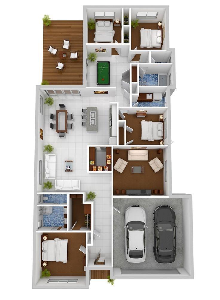 Tlocrti stanova i kuća s četiri spavaće sobe  KucaSnova.com