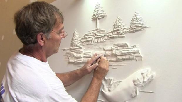 Bernie Mitchell sculpts drywall